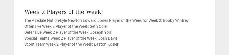 Week 2 Players of the Week: