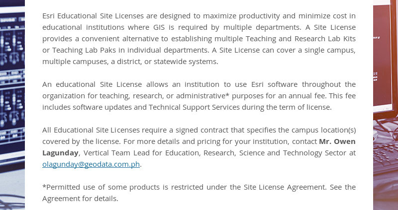 Esri Educational Site Licenses are designed to maximize productivity and minimize cost in...