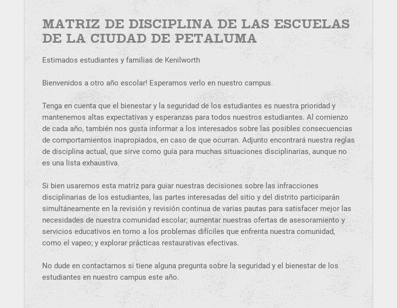 MATRIZ DE DISCIPLINA DE LAS ESCUELAS DE LA CIUDAD DE PETALUMA Estimados estudiantes y familias de...