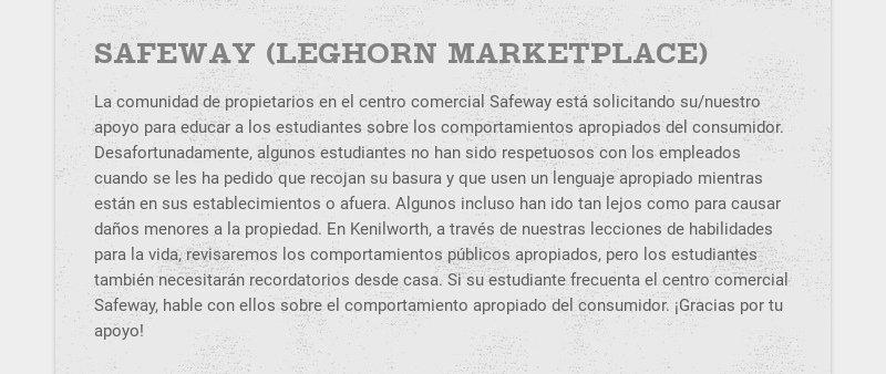 SAFEWAY (LEGHORN MARKETPLACE) La comunidad de propietarios en el centro comercial Safeway está...