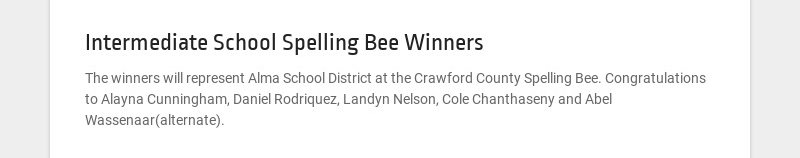 Intermediate School Spelling Bee Winners