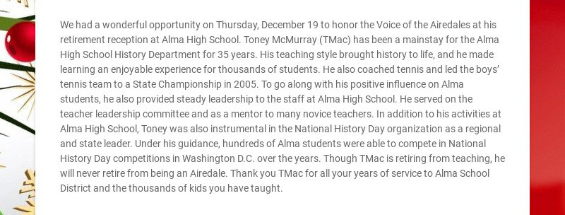 We had a wonderful opportunity on Thursday, December 19 to honor the Voice of the Airedales at...