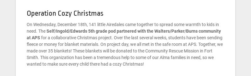 Operation Cozy Christmas