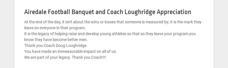 Airedale Football Banquet and Coach Loughridge Appreciation