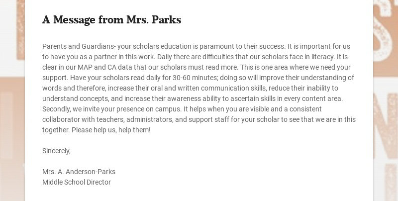 A Message from Mrs. Parks