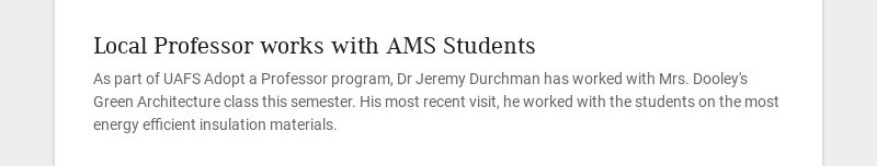 Local Professor works with AMS Students