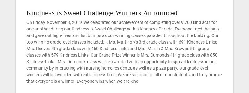 Kindness is Sweet Challenge Winners Announced