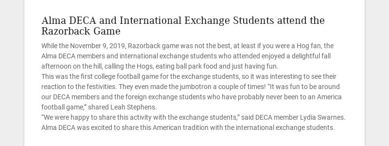 Alma DECA and International Exchange Students attend the Razorback Game