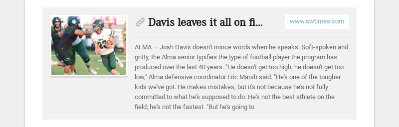 Davis leaves it all on field for Alma