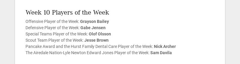 Week 10 Players of the Week