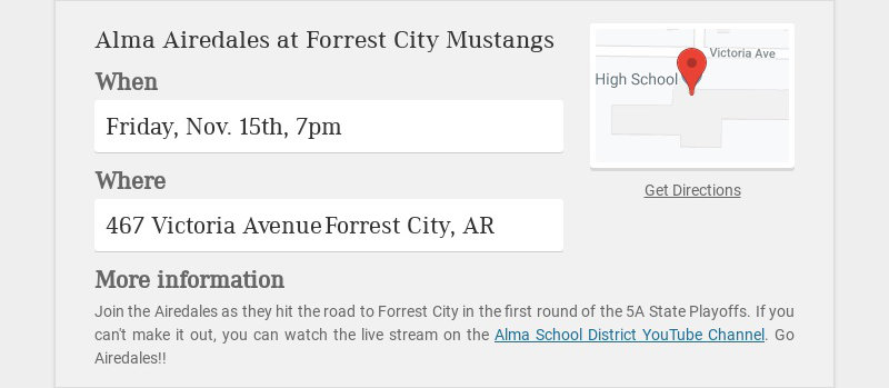 Alma Airedales at Forrest City Mustangs