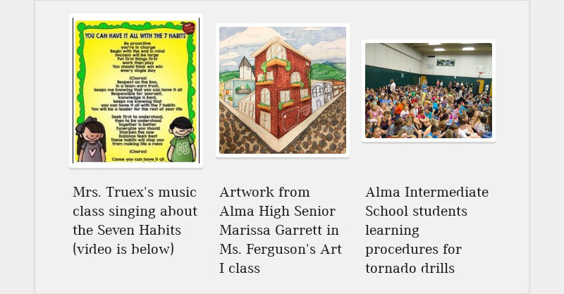 Mrs. Truex's music class singing about the Seven Habits (video is below) Artwork from Alma High...