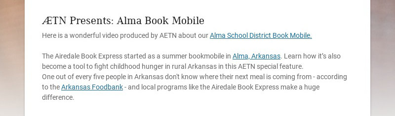 AETN Presents: Alma Book Mobile