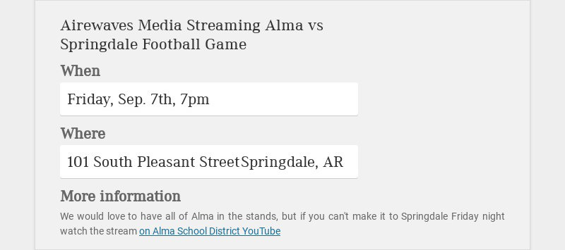 Airewaves Media Streaming Alma vs Springdale Football Game