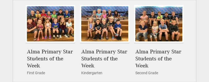 Alma Primary Star Students of the Week First Grade Alma Primary Star Students of the Week...