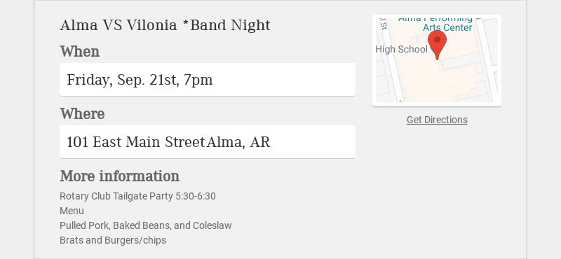 Alma VS Vilonia *Band Night