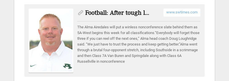 Football: After tough losses, Alma feels it's close