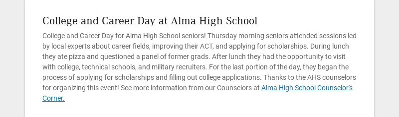 College and Career Day at Alma High School