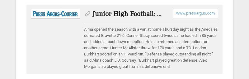 Junior High Football: Alma, Pirates claim wins www.pressargus.com Alma opened the season with a...