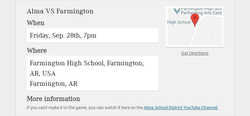 Alma VS Farmington When Friday, Sep. 28th, 7pm Where Farmington High School, Farmington, AR, USA...