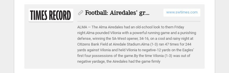 Football: Airedales' ground game overwhelms Vilonia, 34-16