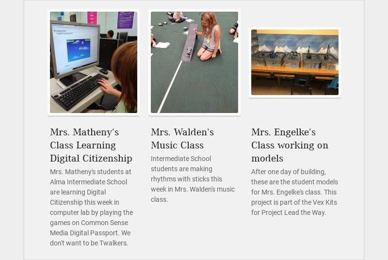 Mrs. Matheny's Class Learning Digital Citizenship Mrs. Matheny's students at Alma Intermediate...