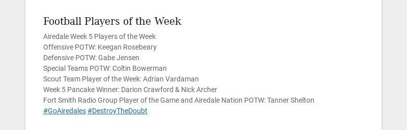 Football Players of the Week Airedale Week 5 Players of the Week Offensive POTW: Keegan Rosebeary...