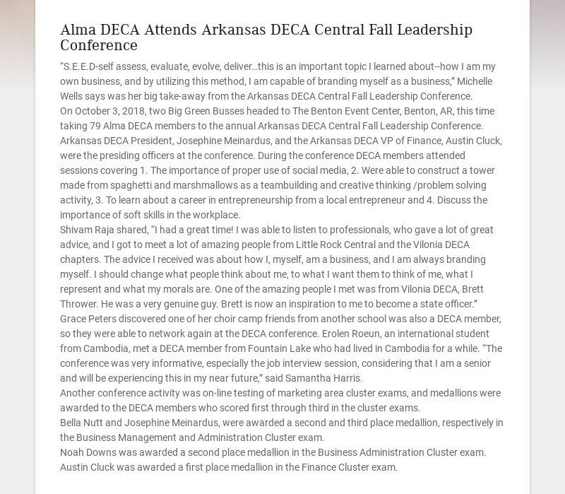 "Alma DECA Attends Arkansas DECA Central Fall Leadership Conference ""S.E.E.D-self assess,..."