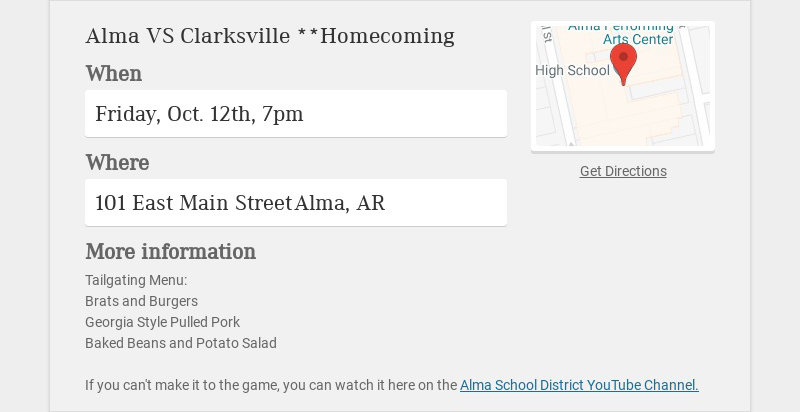 Alma VS Clarksville **Homecoming