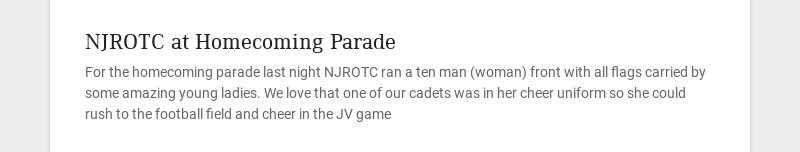 NJROTC at Homecoming Parade