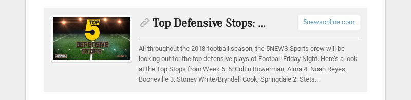 Top Defensive Stops: Week Six