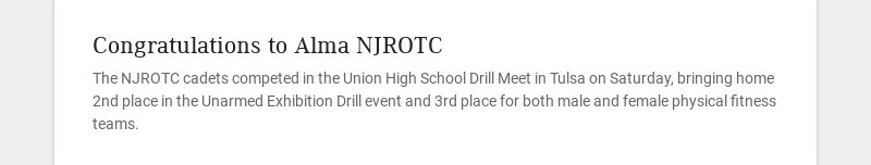 Congratulations to Alma NJROTC