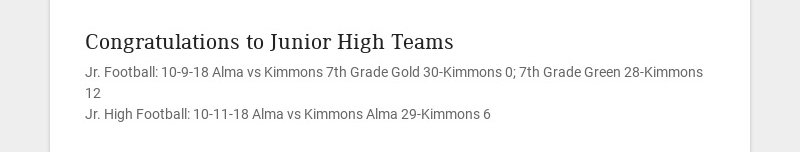 Congratulations to Junior High Teams
