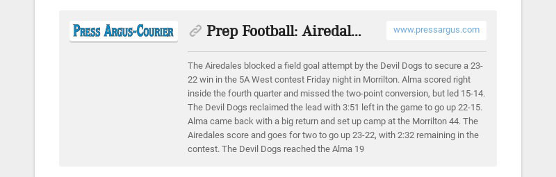 Prep Football: Airedales block FG for win; Pirates, Dragons rout foes