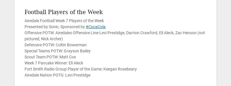 Football Players of the Week