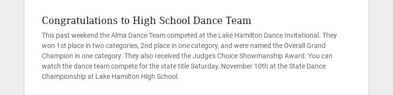 Congratulations to High School Dance Team