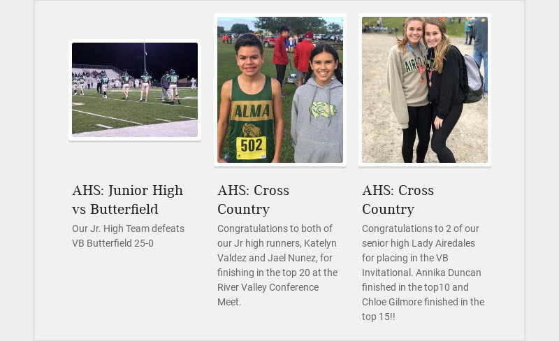 AHS: Junior High vs Butterfield Our Jr. High Team defeats VB Butterfield 25-0 AHS: Cross Country...