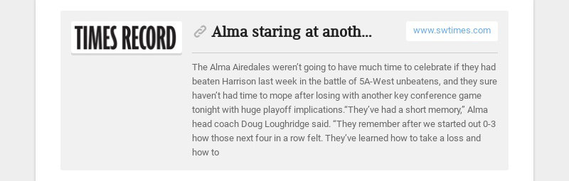 Alma staring at another big game