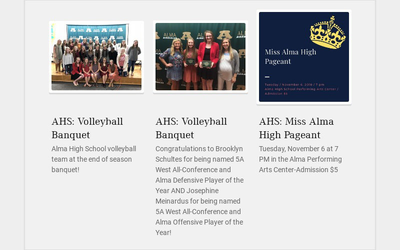 AHS: Volleyball Banquet Alma High School volleyball team at the end of season banquet! AHS:...