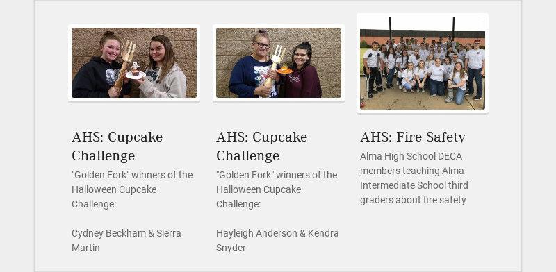 "AHS: Cupcake Challenge ""Golden Fork"" winners of the Halloween Cupcake Challenge: Cydney Beckham &..."