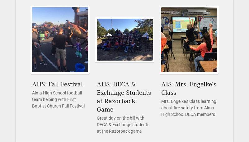 AHS: Fall Festival Alma High School football team helping with First Baptist Church Fall Festival...