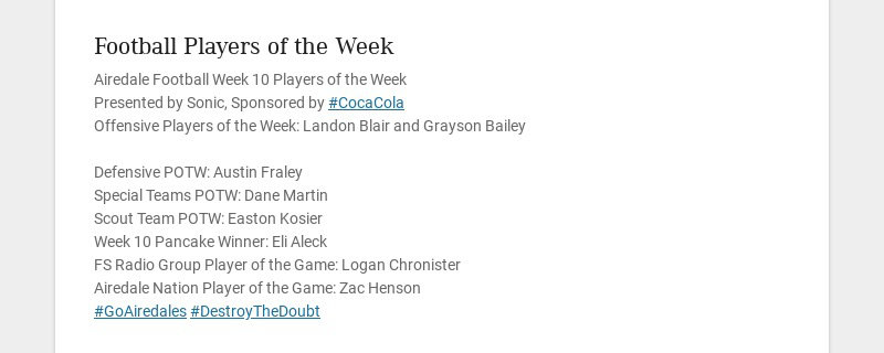 Football Players of the Week Airedale Football Week 10 Players of the Week Presented by Sonic,...