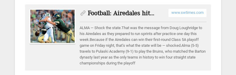 Football: Airedales hit road, with steep hill to climb www.swtimes.com ALMA — Shock the...
