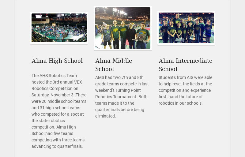 Alma High School The AHS Robotics Team hosted the 3rd annual VEX Robotics Competition on...