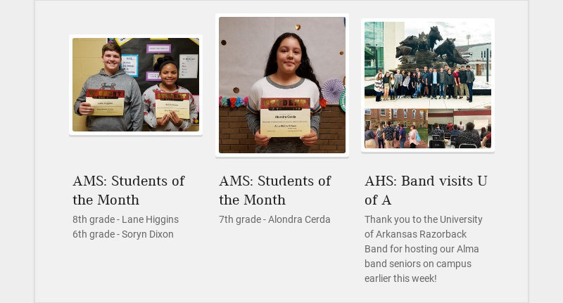 AMS: Students of the Month 8th grade - Lane Higgins 6th grade - Soryn Dixon AMS: Students of the...