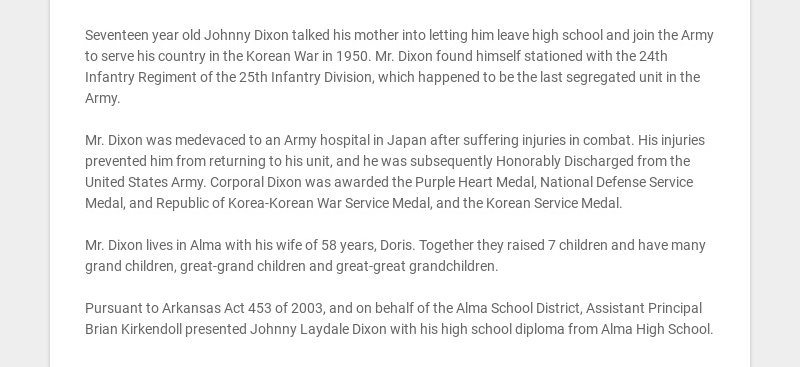 Seventeen year old Johnny Dixon talked his mother into letting him leave high school and join the...