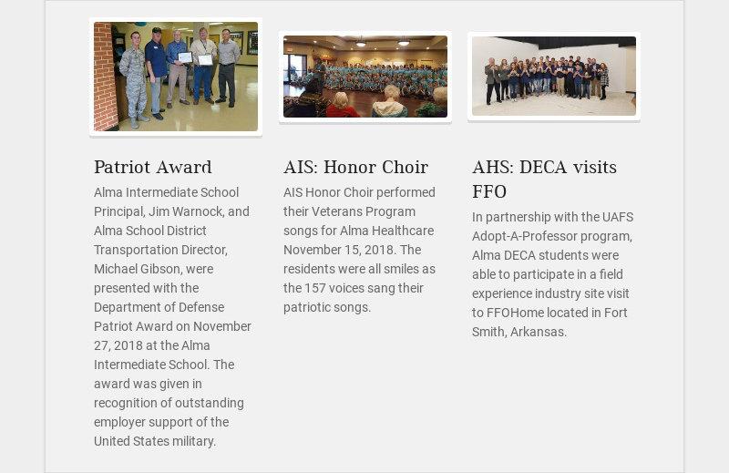 Patriot Award Alma Intermediate School Principal, Jim Warnock, and Alma School District...