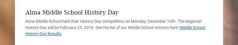 Alma Middle School History Day