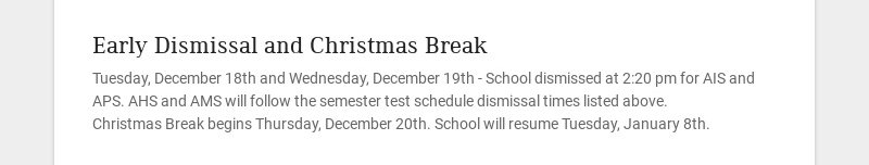 Early Dismissal and Christmas Break