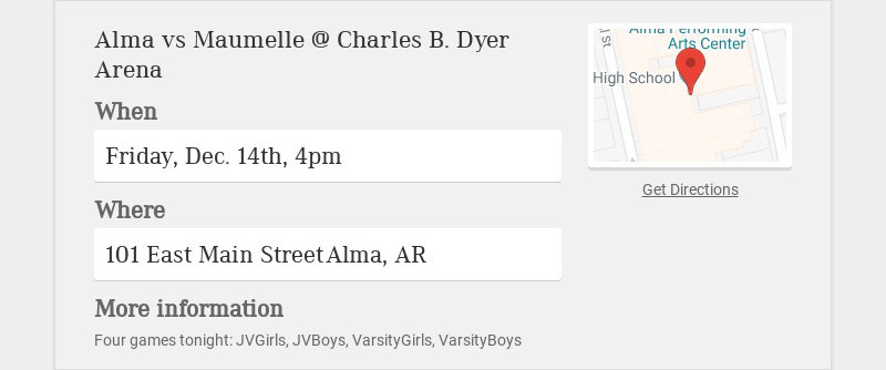 Alma vs Maumelle @ Charles B. Dyer Arena